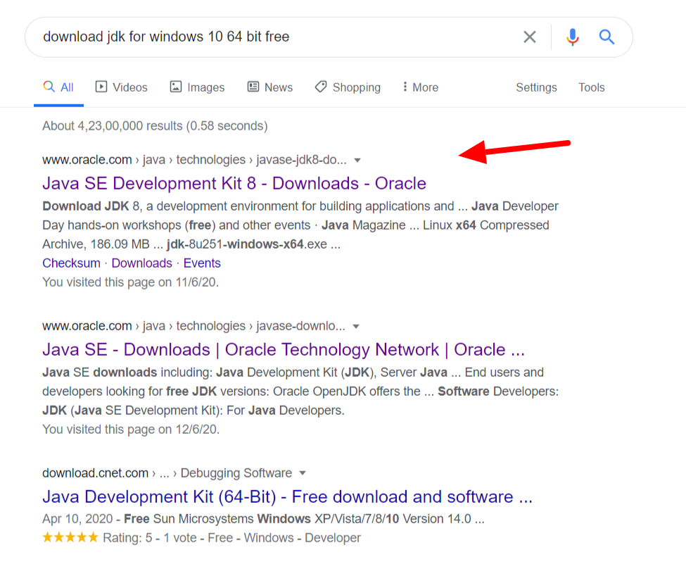 Download jdk for windows Google search results.