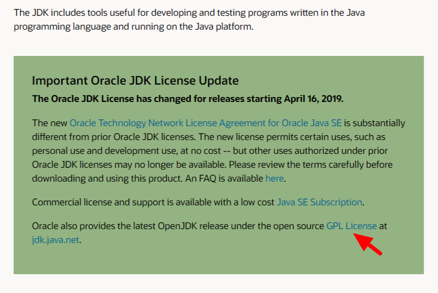 Oracle JDK License Update screenshot