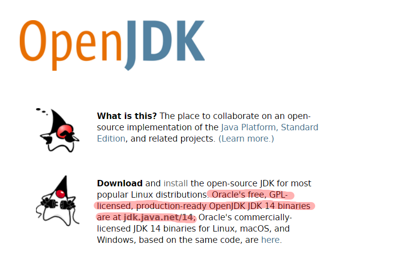 OpenJDK homepage screenshot