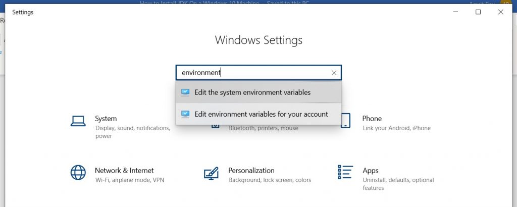 windows settings dialog box. Choosing system environment variables.